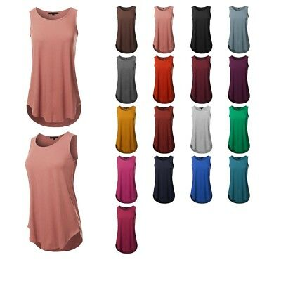 4239246a54 FashionOutfit Women's Loose Fit Solid Sleeveless Round Neck Round Hem Tank  Top