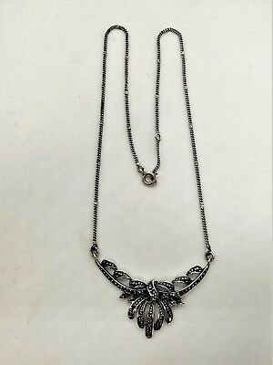 Vintage Marcasite sterling silver lavaliere necklace 1930s-40s