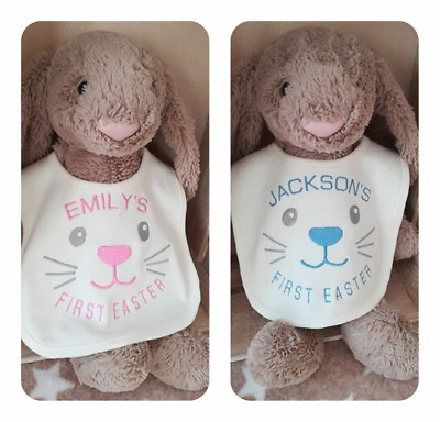 Babies First Easter Bib Cute Bunny Pink Blue Gift Personalised Embroidered