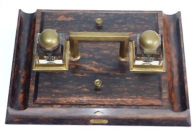 RARE Large Antique 19th Century Coromandel / Satinwood Partners Inkwell Stand
