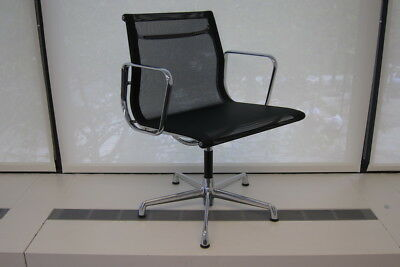 20) ICF Eames Aluminum Group Side Chair with black Mesh