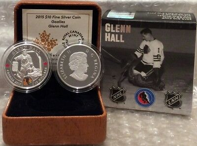 Glenn Hall $10 2015 1/2OZ SilverProof Coin Canada NHL Goalies Chicago Blackhawks