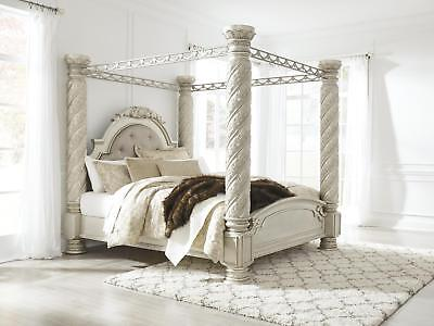 Cassimore California King Poster Canopy Bed in Pearl Silver PROMO