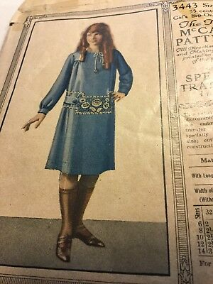 1920s McCALL 3443 Girls' Slip On Dress Antique Sewing Pattern