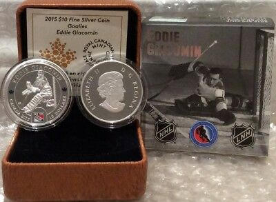 Eddie Giacomin $10 2015 Silver Proof Coin Canada, NHL Goalies, New York Rangers