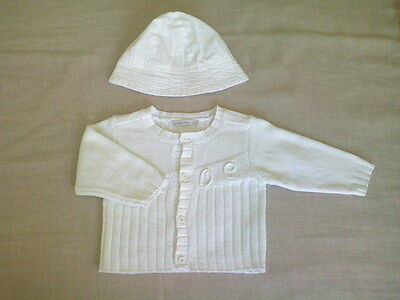 ABSORBA BABY GIRL 2-Piece Set 100% White Cotton Cardigan + Sun Hat ... ae847f716864