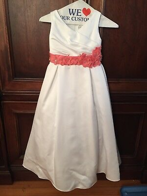 91f1059aeb Sweet Beginnings Flower Girl Dress White Size 8 with Coral Satin Waistband