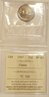 1967 Canada 25 Cent Quarter SP 65  Cameo ICCS