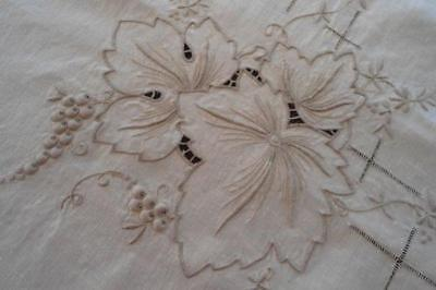 Vintage Ecru Linen Banquet Tablecloth Cutwork Embroidered Grapes Leaves