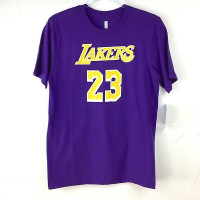 Youth NWT NBA LeBron James Purple Yellow Los Angeles Lakers T-Shirt Jersey  Large 5f85d5b07