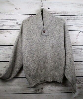 Vtg 70s Men's M / L Shawl Collar Wool Pull Over Sweater Heathered Gray 42 Chest