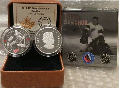 Terry Sawchuk $10 2015 Silver Proof Coin Canada, NHL Goalies, Detroit Redwings