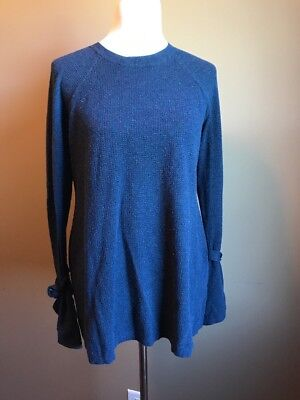 Isabel Maternity Blue Tie Sleeve Sweater Size M