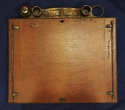 Unique Antique 1902 Manning Bowman Teacher's Office Desk Organizer Leather