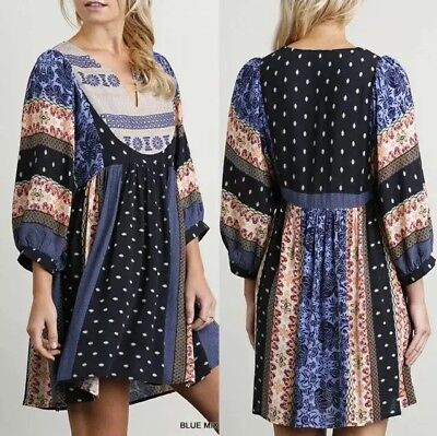 Umgee Dress Size S Small Blue Print Embroidered Shift Peasant Boho Womens New