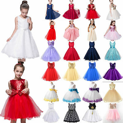 Kid Flower Girl Princess Tutu Dress Formal Party Wedding Pageant Skater Sundress