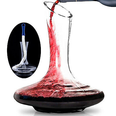 REAMIC Large Bottom Oblique Wine Decanter Wine Accessories With Bendable Brush