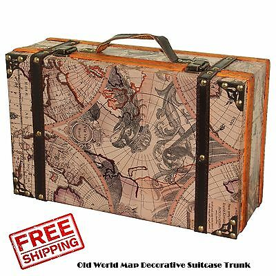 Map Decorative Suitcase Trunk Old World Vintage Antique Retro Luggage Home Brown