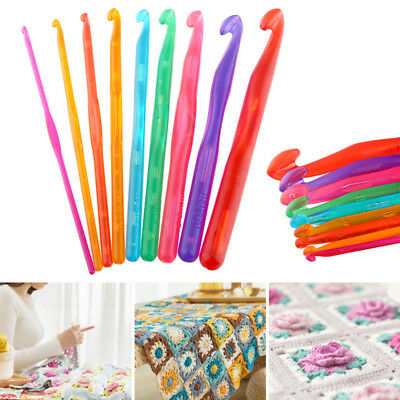 9Pcs/Set Crochet Hooks Knit Knitting Needles Set Weave Craft Tools 3-12mm
