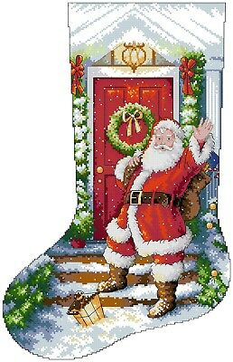 Welcome Santa Stocking cross stitch chart Digital Format