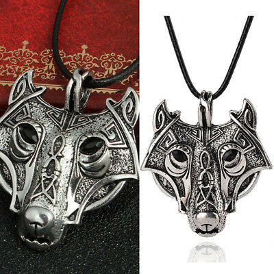 Vintage Mens Retro Norse Vikings Wolf Animal Head Pendant Necklace Chain Gift