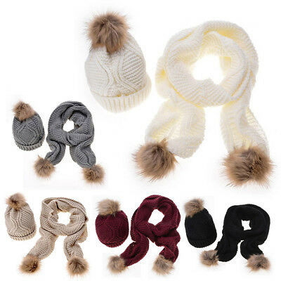 2Pcs Scarf Hat Set Women Winter Warm Knitted Soft Cozy Caps+Scarves With Pompoms