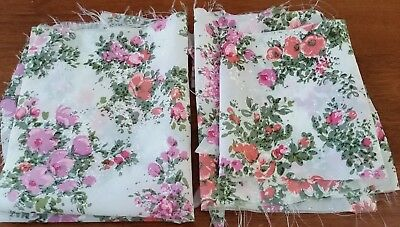 VINTAGE Bulk Lot REMNANT Off Cuts PINK PURPLE FLORAL Sew Craft POLYESTER FABRIC