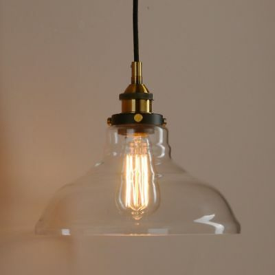 Industrial Vintage Retro Clear Glass Shade Pendant Light Ceiling Lamp Chandelier