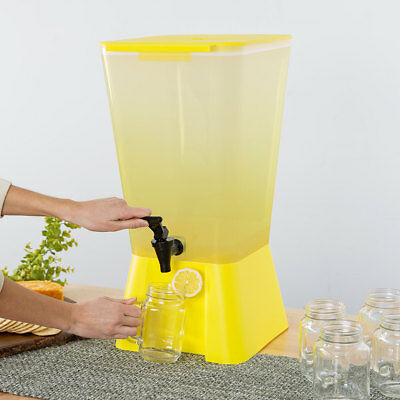 5 Gallon Yellow Square Plastic Beverage Dispenser Party Catering Wedding Event