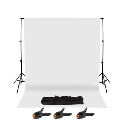 Photography Studio Background Support Stand & White Screen Backdrop Kit & Bag AB