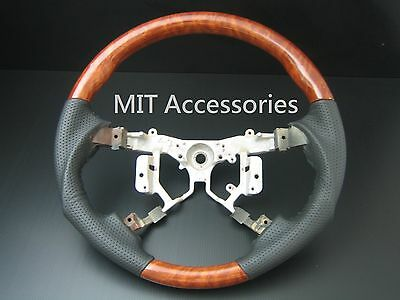 FOR Toyota HIGHLANDER 2008-2013 wood genuine black leather steering wheel-Sports