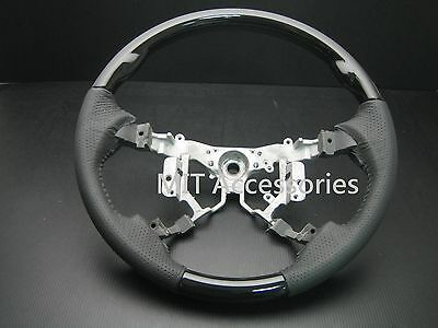 FOR Toyota HIGHLANDER 2008-2013 wood leather steering wheel-Black piano