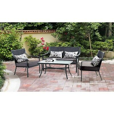 4-Piece Patio Conversation Set 3 Chairs 1 Glass Table Outdoor Cushion Furniture