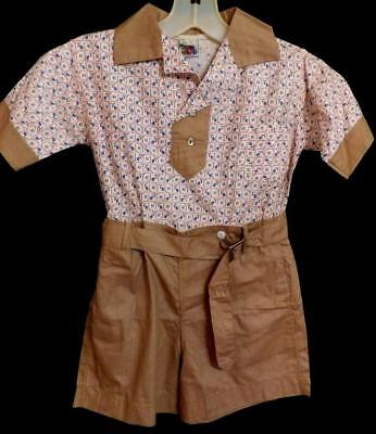 ORIG VTG WW2 1940s BOYS 2 PC COTTON TOP PANTS SET FRUIT LOOM NEW OLD NOS SZ 6