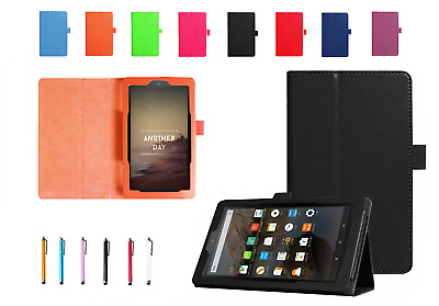 New Leather Smart Flip Stand Case Cover For Amazon Kindle Fire 7 (2017) Alexa