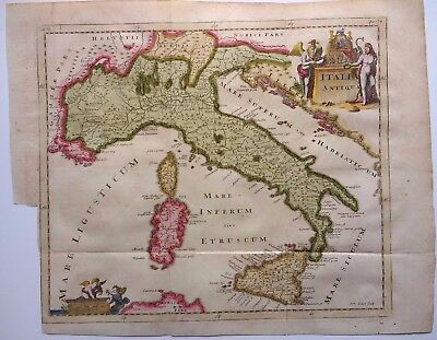 Antique map of Ancient Italy by Philip Cluver, engraved by John Senex 1711
