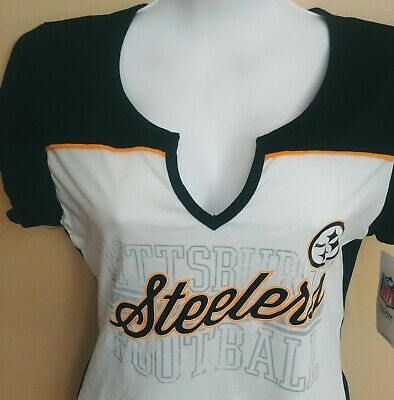 ad4d35a71d5 Womens Pittsburgh Steelers White Notched V-Neck T-Shirt NFL Team Apparel