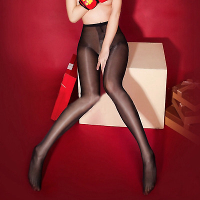 Sexy Glossy Tights Suspender Stockings Shiny Sheer Pantyhose Open Crotch Hosiery