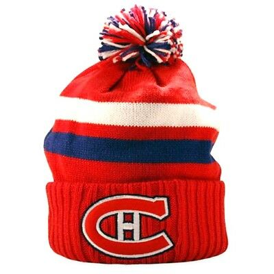 a77aeb7d5 MONTREAL CANADIENS Knit Beanie Hat Ski Cap NHL W/Pom Cuffed Winter Toque NWT