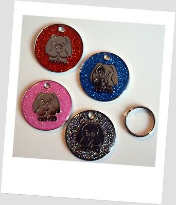 FREE ENGRAVING Dog ID / Cat ID Name Glitter Tag Personalised Puppy Pet ID Tags