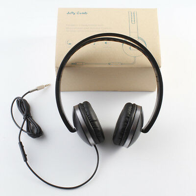 Jelly Comb Foldable Corded Headphones, On Ear Headphones with Mic Black