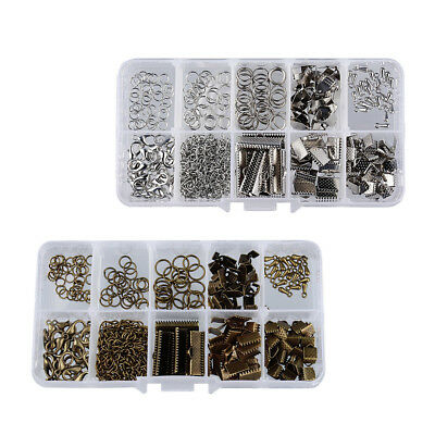 400pcs Bulk Fold Over Cord Ends Jewelry Findings for Bracelet Necklace DIY