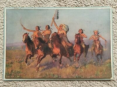 """1916 Calendar Print Native American """"Song of Victory"""" 1903 Print By E.W.Deming"""