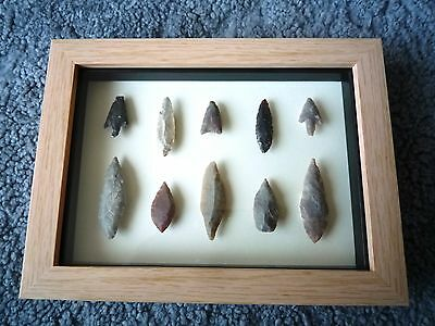 Neolithic Arrowheads in 3D Picture Frame, Authentic Artifacts 4000BC (0865)