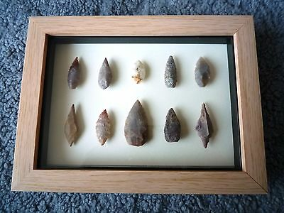 Neolithic Arrowheads in 3D Picture Frame, Authentic Artifacts 4000BC (0862)