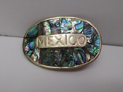 Vintage Sterling Mother Of Pearl Belt Buckle Mexico