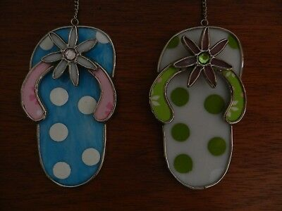 3159adc55247 SET OF 2 STAINED GLASS Flip Flop SUNCATCHERS -  21.95