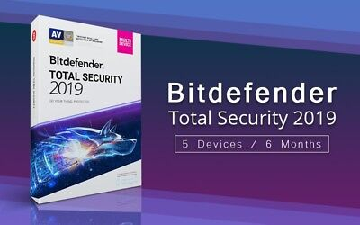 Bitdefender Total Security 2019 , 2020 / 5 devices  6 Months / key.Code GLOBLE