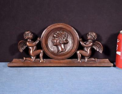 """*14"""" French Carved Architectural Crest Solid Walnut Salvage with Face"""