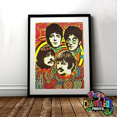 The Beatles Poster Print In A3 A4 Psychedelic Poster Print
